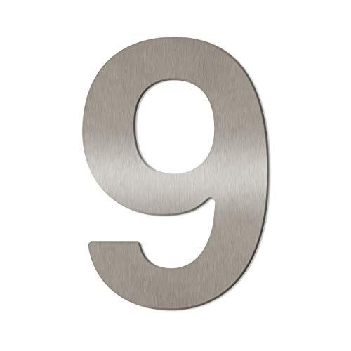 Thorwa® Design Edelstahl Hausnummer aus V2A (fein gebürstet), inkl. Montagematerial/Höhe: 16cm - 160mm (9)