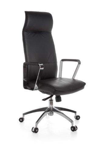 AMSTYLE XXL managersstoel Verona echt leer, bureaustoel met 5-traps synchroonmechanisme (120kg) zwart