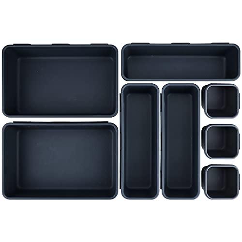 Portaoggetti da cassetti, set di 8 unità in plastica, per cassetti, separatori in 3 misure diverse per scrivania, cosmetici, scrivania, bagno, ufficio, cucina (in 2 colori), colore nero