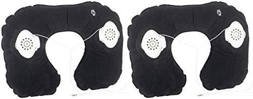 PEARL Nackenkissen Kinder: 2 aufblasbare Nackenhörnchen mit integriertem Stereo-Lautsprecher (Lautsprecher-Nackenkissen)