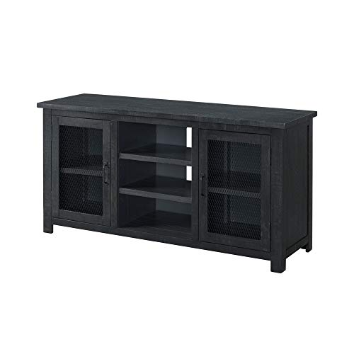 Benjara 60 Inch Rustic Wooden TV Stand with Mesh Design, Dark Gray -  BM231516