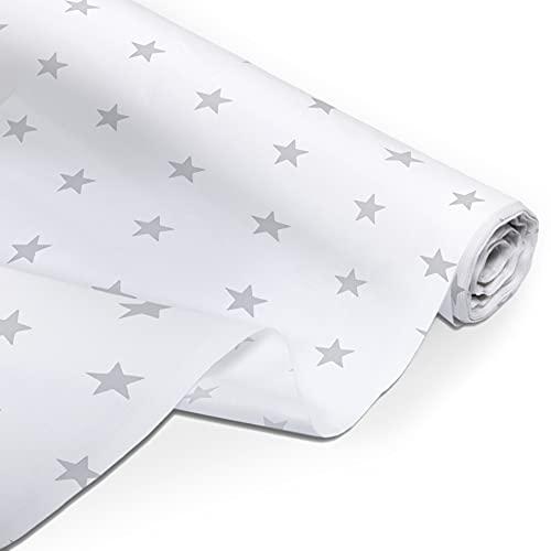 Amilian Tela de algodón por metro, telas, restos de tela, paquete de tela: aprox. 160 cm x 50 cm, para costura, patchwork, 100% algodón, tela de algodón, tela de costura, estrellas blancas (A3)