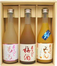 梅乃宿 梅酒ギフトセット 720ml 3本 018 (あらごしもも酒・にごり梅酒・つぶつぶみかん酒)