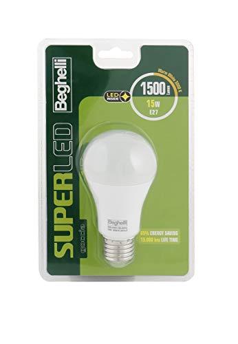 Beghelli Superled - Bombilla LED, E27, 15 W, luz cálida, 3000 K, blanca