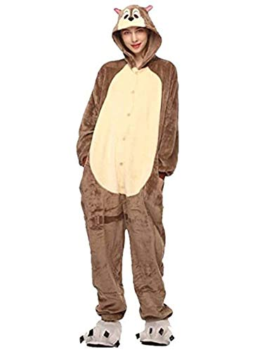 Pijamas Disfraces Onesie Animal Adultos Kigurumi Carnaval Halloween o Fiesta Espectáculo Navideño Mono Cosplay Ropa Interior de Zoológico Invierno Unisex Mujeres y Hombres (Ardilla, XL)