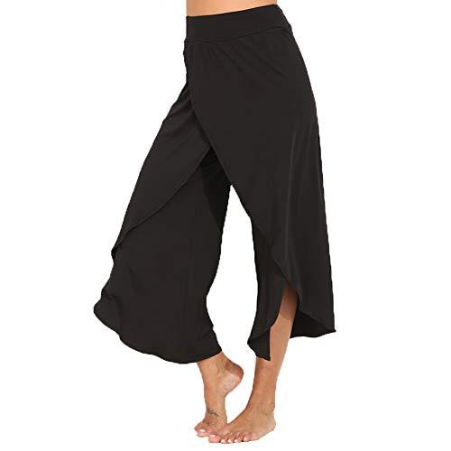 YOFIT Women's High Waist Palazzo Trousers Elegant Wide Leg Bootleg Pants Baggy Trousers Harem Pants Long Loose Flared Pants Black L