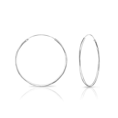 DTPsilver - Damen - Groß Creolen - Ohrringe 925 Sterling Silber - Dicke 1.2 mm - Durchmesser 40 mm…