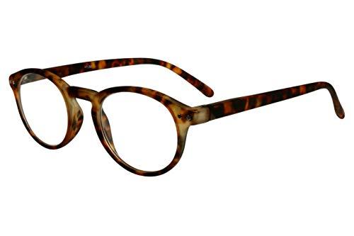 Lesebrillen rund mit schönen großen Gläsern in hellbraun dunkelbraun Damen Herren leicht mit Federbügel+Etui Softtouch 1,5 2,0 2,5 3,0 3,5 Dioptrien, Dioptrien:Dioptrien 2.5