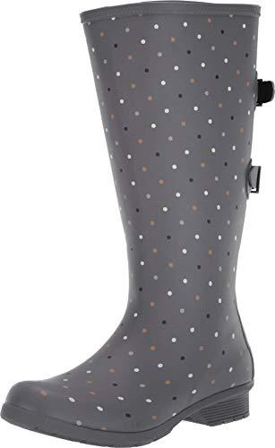 Chooka womens Versa Tonal Dot Tall Versa Boot Rain Shoe, Grey, 7 US