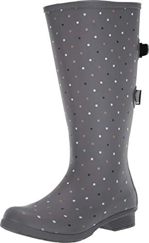 Chooka womens Versa Tonal Dot Tall Versa Boot Rain Shoe, Grey, 6 US