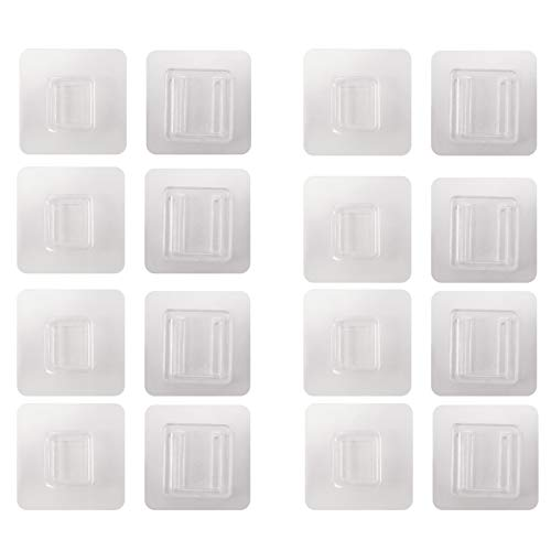 Ebelth Hook Clear Waterproof Sticker Double-Sided Adhesive Wall Hooks, for Bathroom Kitchen Office Hook, Keep The House Tidy Orderly no Need to Punch Holes Walls Harmless (8 Pairs)