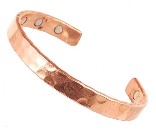 Touchstone Copper Magnetic Healing Bracelet Tibetan Style. Hand Forged with Solid and high Gauge Pure Copper. Hammered Look.