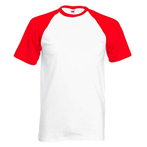 Fruit of the Loom - Kontrast T-Shirt 'Baseball T' Farbe White/Red Größe XX-Large