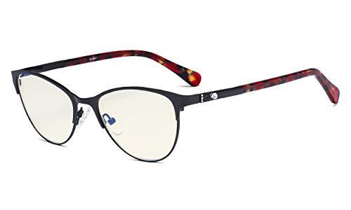Eyekepper Occhiali Alla Moda per Filtro Luce Blu Le signore - Protezione UV Occhio di Gatto Occhiali da Computer Donna Aste di Acetato con Cristalli - Nero