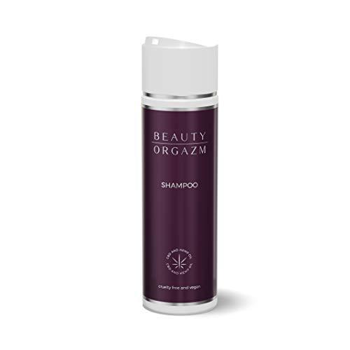 Beauty Orgazm® Anti-Haarausfall Shampoo mit Bio Hanf-Öl, vegan, Naturkosmetik I Haarwuchsbeschleuniger mit Keratin, ProVitamin B5, Aloe Vera für empfindliche Kopfhaut & glänzendes, weiches Haar, 200ml