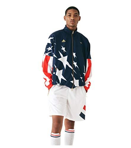 Adidas x Kith USA - Giacca a vento in tessuto edizione limitata 2018, da uomo Blu Navy, Bianco, Rosso, Oro XS