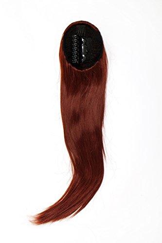 WIG ME UP - Postiche queue de cheval/natte volumineuse lisse tombante mini-pince-papillon élastique env. 60 cm roux WK06-35