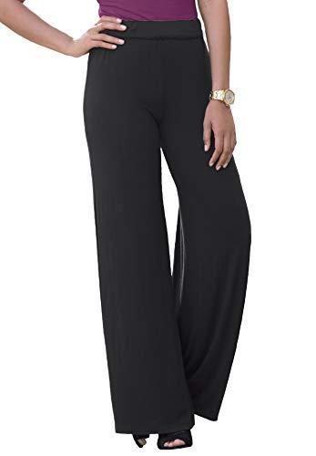 Jessica London Women's Plus Size Everyday Knit Palazzo Pant Soft Lightweight Wide-Leg - 14/16, Black