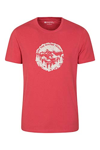 Mountain Warehouse Tri Linear T-Shirt para Hombre - Camiseta Ligera, Top cómodo, Parte de Arriba de Cuidado fácil - Ideal para Viajes, Deportes, Exteriores, Acampar Rojo L