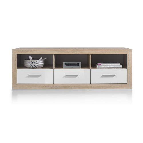 Stella Trading Can Can Lowboard, TV-Unterteil, Holzdekor, Sonoma-Weiß, (B/H/T) 147 x 49 x 45 cm