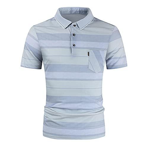 Polo T-Shirt Top Bluse Herren Sommer Slim Casual Fit Patchwork Kurzarm (3XL,9grün)