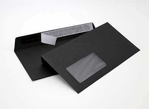 Briefumschläge DIN lang C6/5 114x229 mm schwarz 120 g/m² mit Fenster haftklebend (214AF) (100)