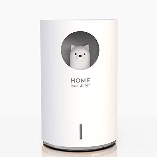 HBBOOI Luftbefeuchter USB Ultraschall LEDNightlight reizender Bären-Mond Aroma Essential Oil Diffuser Startseite Auto Luftbefeuchtung 900ml - Bär (Color : Weiß)