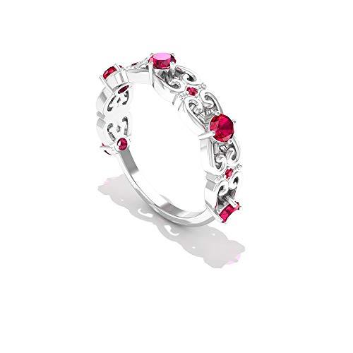 Anillo de filigrana de filigrana de 0,75 ct Art Deco, SGL certificado diamante IJ-SI claridad de color anillo nupcial, piedras preciosas para mujer, anillo de boda, 14K Oro rosa, Size:EU 46