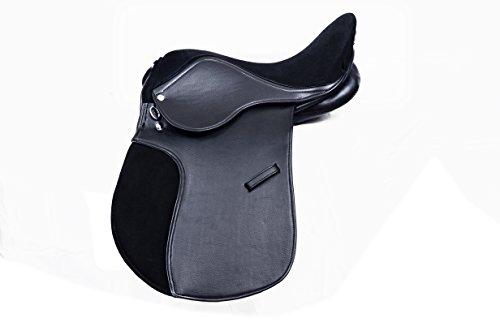 Montura sintética con asiento de ante de calidad prémium, horma ancha, color negro y marrón