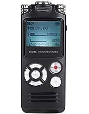 Muslady 8GB Grabadora de Voz Digital Reproductor de Musica mp3 Portátil Micrófonos Duales Batería de Litio Recargable Incorporada con Auriculares