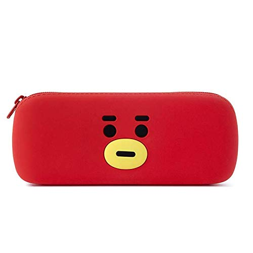 BT21 Official Merchandise by Line Friends - TATA Character Silicone Pencil Pen Case Bag Pouch with Zipper, Red