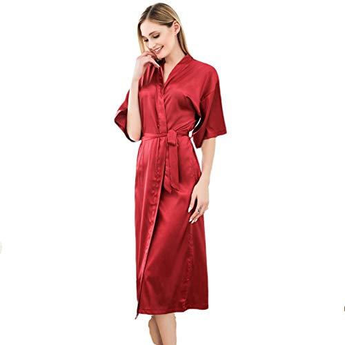 TaoRan Kimono Badjas Robes Simulatie Zijde pyjama Effen Kleur Losse Vest Kimono Badjas Thuis Dressing Jurk