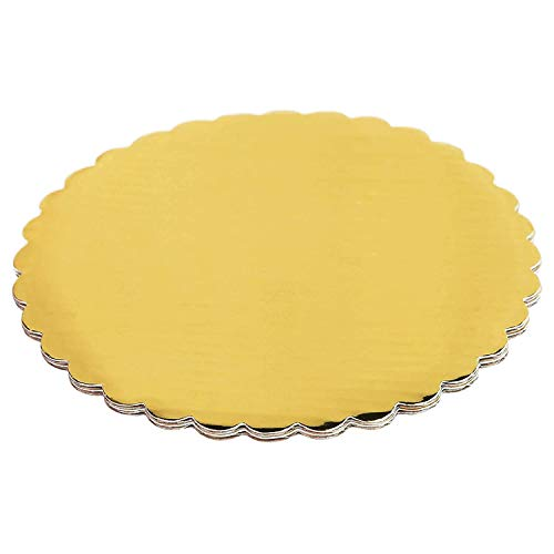 SPDD 10pcs Gold Cakeboard Round Disposable Cake Circle Base Boards Cake Plate Dessert Display Round Coated Circle Cakeboard Base(10 inches (26cm))