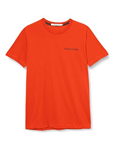 Calvin Klein Institutional Chest Logo SS Tee Camicia, Cherry Tomato, XL Uomo