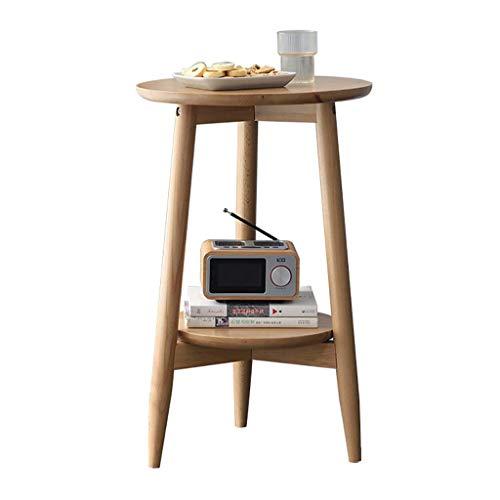 N/Z Tägliche Ausstattung Tische Schreibtisch Sofa Beistelltisch Kleine Buche Runder Tisch Kleiner Couchtisch Doppelschichtiger Beistelltisch für die Hausecke A 50X60.5CM
