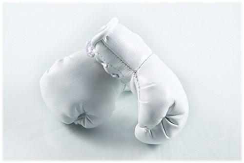 Sportfanshop24 Mini Boxhandschuhe WEIß, 1 Paar (2 Stück) Miniboxhandschuhe z. B. für Auto-Innenspiegel