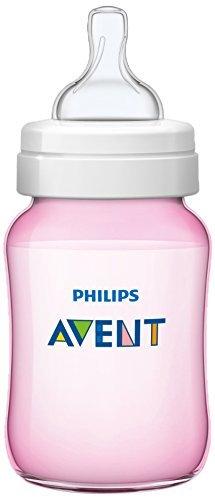 Philips Avent SCF564/17 - Biberón Classic+ de 260 ml, tetina de flujo para recién nacidos, anticólico, color rosa