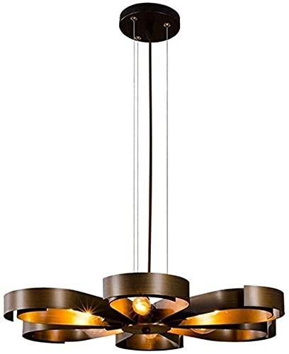 NICEAPR una araña * Lámparas Colgantes Antiguas Loft Retro Chandelier Vintage Iron Copper Industrial Hanging Light E14 × 6 for Restaurant Kitchen Bar Living Room Ceiling Lights (Edition : A)