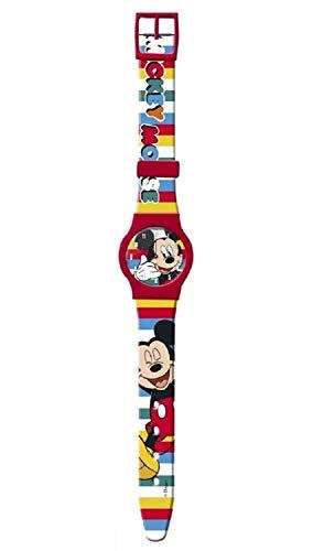 Mickey Mouse - Reloj analógico con correa de silicona, color rojo