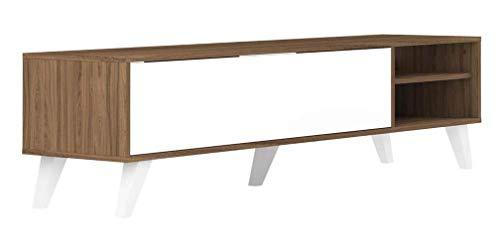 Meuble TV Panneaux De Particules Mélamines Noyer 165 x 40 x 43,2 cm, 3170A3521A01 PRISM