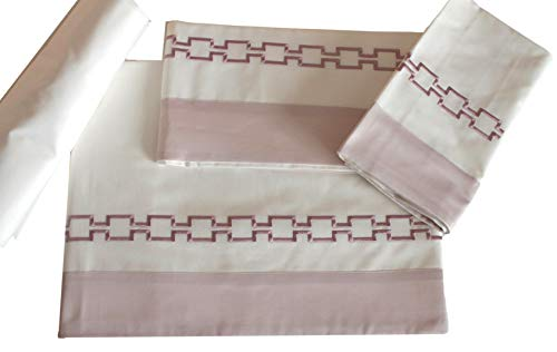 RICAMI FIORENTINI BALDI Sábana individual bordada, algodón 100% con volante de satén, sábana encimera + sábana bajera + funda de almohada, producto artesanal Toscano (individual estándar, rosa, aña)