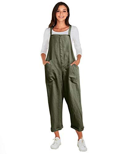 VONDA Latzhose Damen Winter Herbst Baumwolle Jumpsuit Retro Lange Overall Sommerhose 1A-Armeegrün XL