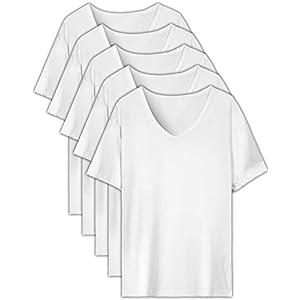 EASY-MODE-T インナーシャツ メンズ 肌着 5枚組 半袖 Vネック 防菌防臭 白 クセになる肌触り (M(165㎝-175㎝))