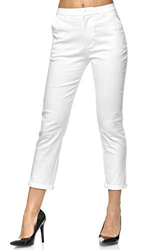 Elara Damen Chinohose Stoffhose Chunkyrayan VS19026-2 White-38 (M)