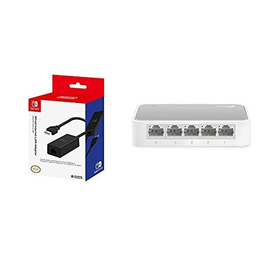 Hori Adaptador LAN (Nintendo Switch) + TP-Link TP-Link TL-SF1005D Switch Ethernet con 5 Puertos (10/100 Mbps, RJ45, Concentrador de ethernet, Plug and Play, sin Ventilador, No Gestionado)