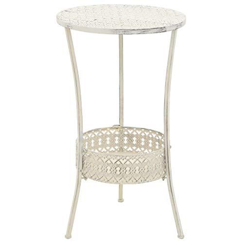 vidaXL Bistrotisch Vintage-Stil Rund Metall Weiß Stehtisch Bartisch Partytisch
