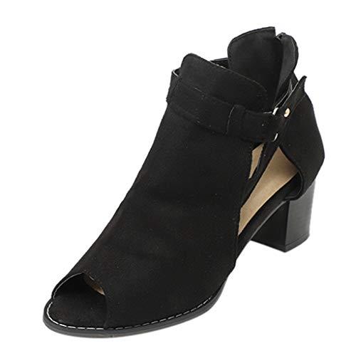 MEIbax Damen Sandalen Mode Fischmaul aushöhlen Roma Schuhe Sommer Sandaletten Open Toe Plateau High Heel Pumps High Heels Kurzschaft Stiefelette