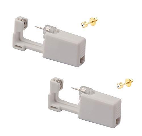 KISEER 2 Pcs Disposable Self Ear Piercing Gun Safety Ear Nose Piercing Kit Tool With Earring Stud (Gold)