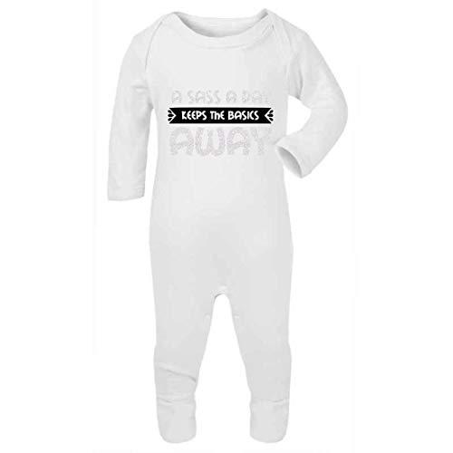Sass a Day Keep The Basics Away (White Glitter) - Mono de bebé con pies, 6-12 meses, color blanco