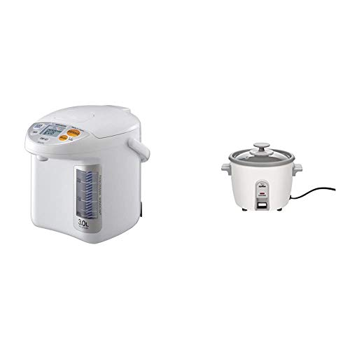 Zojirushi CD-LFC30 Panorama Window Micom Water Boiler and Warmer, 101 oz/3.0 L, White & NHS-06 3-Cup (Uncooked) Rice Cooker